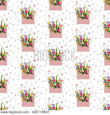 Pattern With Pink Mail Envelope And Flowers. Illustration With A Bouquet And Butterflies. Vector Ill