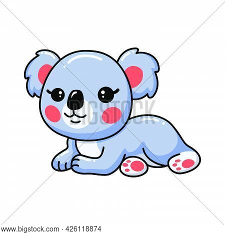 Vector Illustration Of Cute Baby Koala Cartoon Laying Down