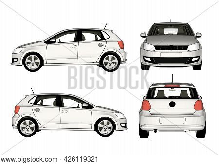 Flat Isometric High Quality Vector Modern Design Cars. Sedan, Van, Electric Car And Scooter. For Inf