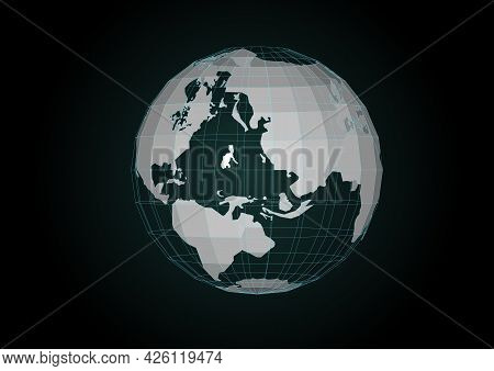 Vector. Map Of The Planet. World Map. Global Social Network. Future. Blue Futuristic Background With