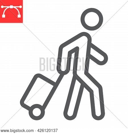 Person Pulling Luggage Line Icon, Migration And Tourist, Passenger With Rolling Bag Vector Icon, Vec