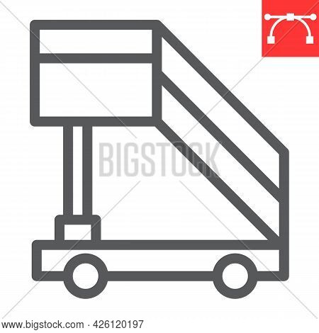 Airport Ladder Line Icon, Transport And Airport, Plane Ladder Vector Icon, Vector Graphics, Editable
