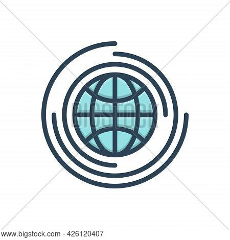 Color Illustration Icon For Global Universal Environment Globalization Worldwide