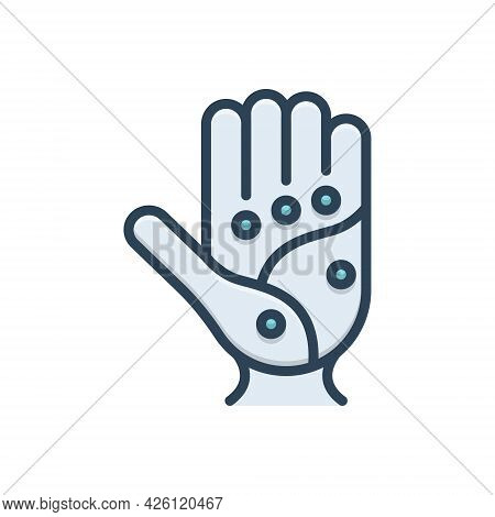 Color Illustration Icon For Point Spot Palm Acupressure Acupuncture