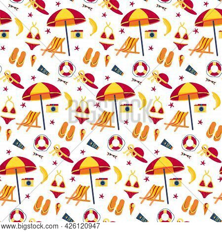 Summer Theme Pattern With White Background. Lifebuoy Sun Lounger Repeating Pattern. Blue, Yellow, Re
