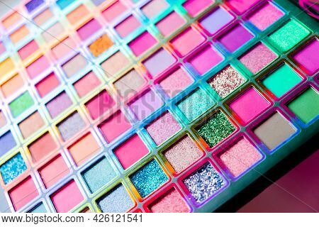 Flat Lay Of Broken Bright Multicolor Eyeshadow As Samples And Swatches Of Cosmetic Beauty Product Is