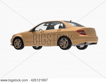 Generic and Brandless Car Isolated on White 3d Illustration, ContemporarySedanStudio,Dealership Automobile Industry, Auto Transport, Infographics Automotive Background, City Vehicle Template