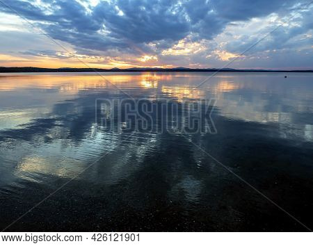 Colorful Blue And Orange Sunset Sky Over The Lake, Blue Hour
