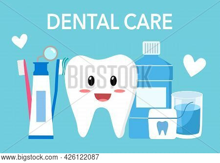Tooth Cartoon Character With Dental Care Set Of Toothbrush, Toothpaste, Mouthwash And Dental Floss I