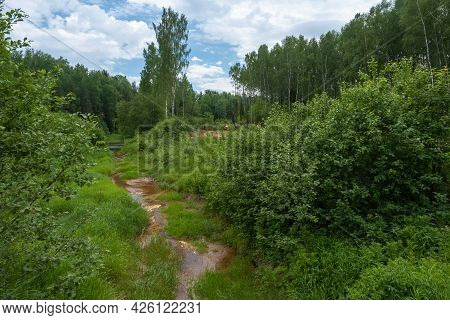A Narrow Little River With Rusty Water Among Green Grass And Bushes On A Summer Day.