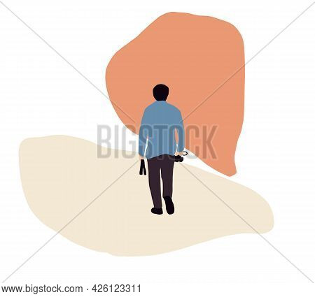 Tourist Man Character With Camera On Excursion Or Sightseeing Tour Vector Illustration. Hipster Trav