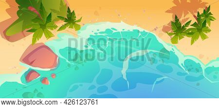 Summer Ocean Beach Top View. Sandy Sea Shore With Stones And Palm Trees. Vector Cartoon Illustration
