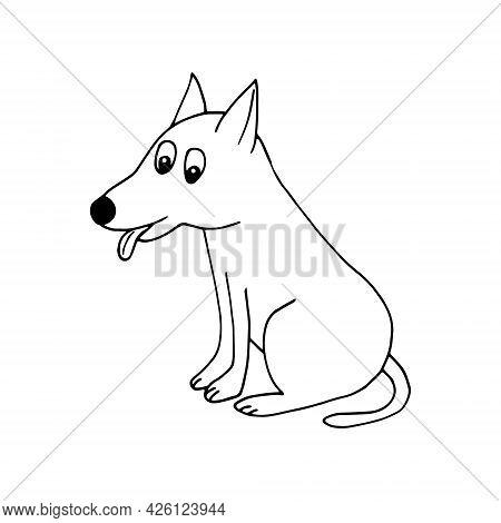 Dog Icon. Hand Drawn Doodle. Vector, Scandinavian, Nordic, Minimalism Monochrome Pet Animal Cute Fun