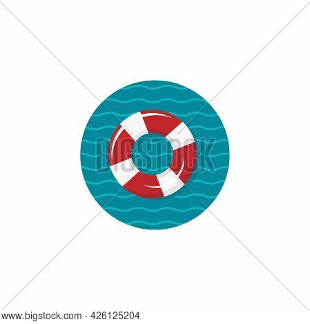 Swimming Rubber Ring In Blue Circle With Waves. Icon Isolated On White Background. Floating Lifebuoy