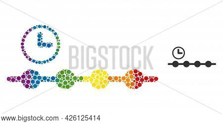 Timeline Mosaic Icon Of Round Items In Different Sizes And Spectrum Colored Color Tones. A Dotted Lg