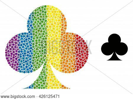 Playing Card Club Suit Collage Icon Of Round Dots In Various Sizes And Spectrum Colored Color Tinges