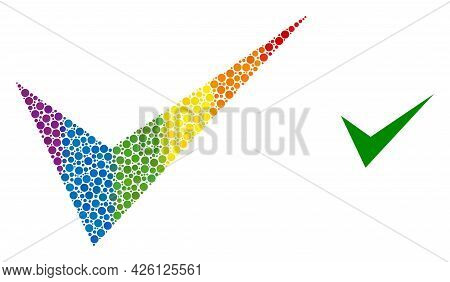 Yes Sign Collage Icon Of Circle Elements In Variable Sizes And Spectrum Bright Color Hues. A Dotted