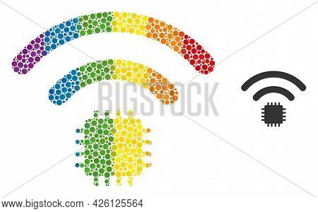 Radio Sensor Mosaic Icon Of Circle Elements In Various Sizes And Rainbow Color Tones. A Dotted Lgbt-