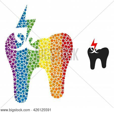 Tooth Crash Composition Icon Of Filled Circles In Different Sizes And Rainbow Colorful Color Tinges.