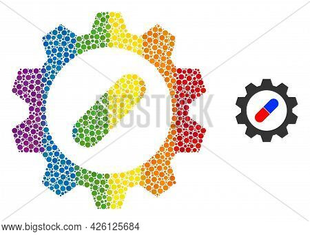 Pharma Industry Mosaic Icon Of Spheric Dots In Various Sizes And Spectrum Color Tones. A Dotted Lgbt