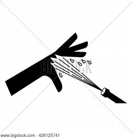 Skin Puncture Pressurized Water Jet Symbol Sign Isolate On White Background,vector Illustration Eps.