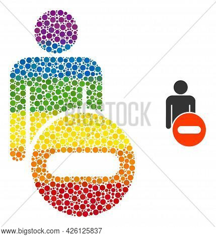 Remove Man Figure Composition Icon Of Round Items In Different Sizes And Spectrum Multicolored Color