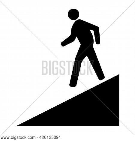 Beware Slope Symbol Sign Isolate On White Background,vector Illustration Eps.10