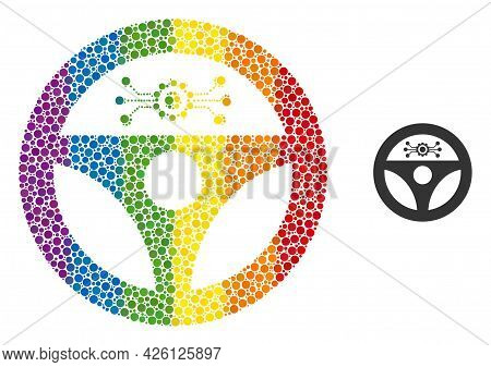 Autopilot Collage Icon Of Spheric Dots In Variable Sizes And Rainbow Colored Color Tints. A Dotted L