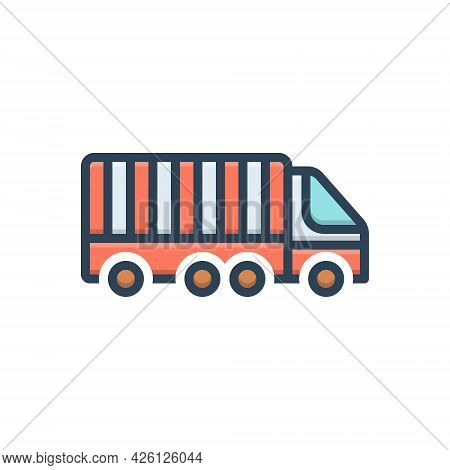 Color Illustration  Icon For Freight-transport Freight Transport Container Lorry Storage Cargo Termi