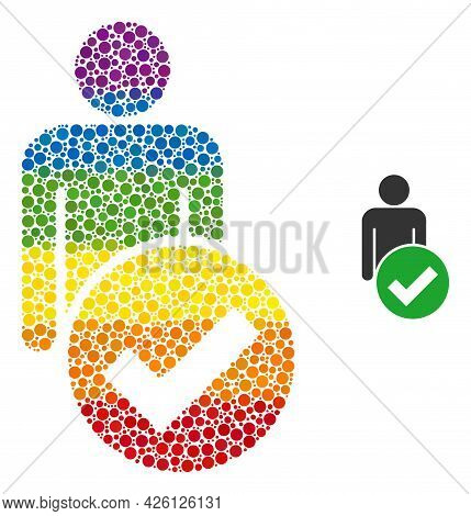 Valid Man Figure Collage Icon Of Filled Circles In Different Sizes And Rainbow Color Tints. A Dotted