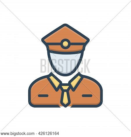 Color Illustration  Icon For Ticket-collector Ticket Collector Ticket-taker Checker Person