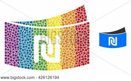 Shekel Banknote Mosaic Icon Of Filled Circles In Various Sizes And Rainbow Colored Color Tones. A Do