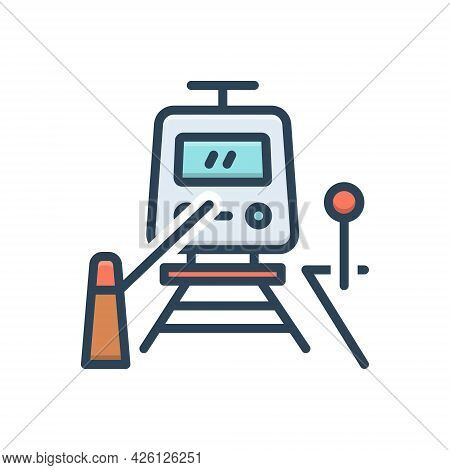 Color Illustration  Icon For Railway-crossing Railway Crossing Train Barrier Safety