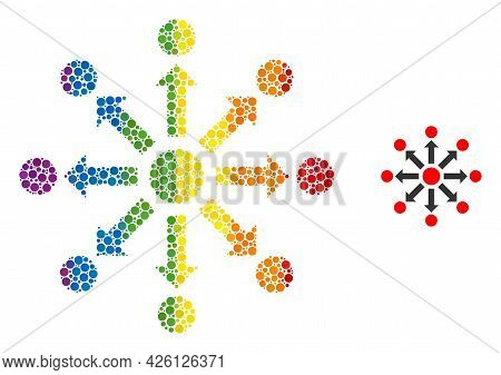 Expansion Composition Icon Of Filled Circles In Different Sizes And Rainbow Color Tones. A Dotted Lg