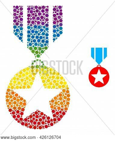 Star Medal Composition Icon Of Round Items In Various Sizes And Spectrum Colored Shades. A Dotted Lg