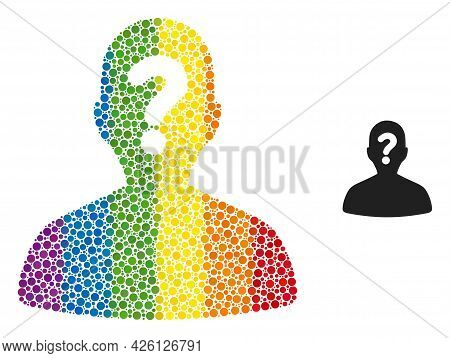 Unknown Body Collage Icon Of Circle Elements In Various Sizes And Spectrum Color Tinges. A Dotted Lg