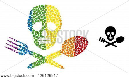 Toxic Food Mosaic Icon Of Filled Circles In Various Sizes And Spectrum Color Tinges. A Dotted Lgbt-c