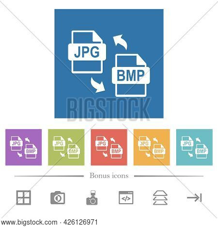 Jpg Bmp File Conversion Flat White Icons In Square Backgrounds. 6 Bonus Icons Included.