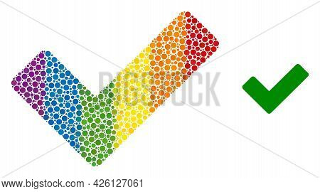Ok Sign Collage Icon Of Circle Spots In Different Sizes And Rainbow Colored Color Hues. A Dotted Lgb