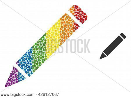 Pencil Mosaic Icon Of Filled Circles In Various Sizes And Rainbow Color Tones. A Dotted Lgbt-colored