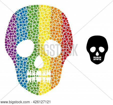 Skull Collage Icon Of Spheric Dots In Variable Sizes And Rainbow Colored Color Hues. A Dotted Lgbt-c