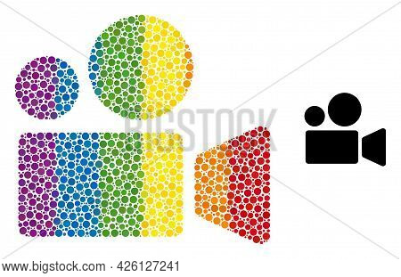 Cinema Camera Mosaic Icon Of Spheric Blots In Different Sizes And Spectrum Colored Shades. A Dotted