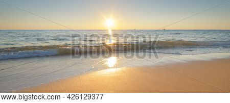 Sea shore during the sunset. Nature conceptual scene.