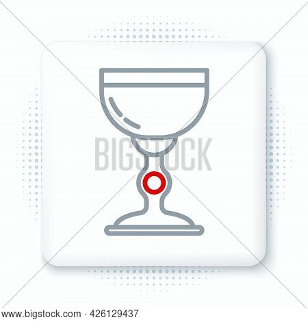 Line Jewish Goblet Icon Isolated On White Background. Jewish Wine Cup For Kiddush. Kiddush Cup For S