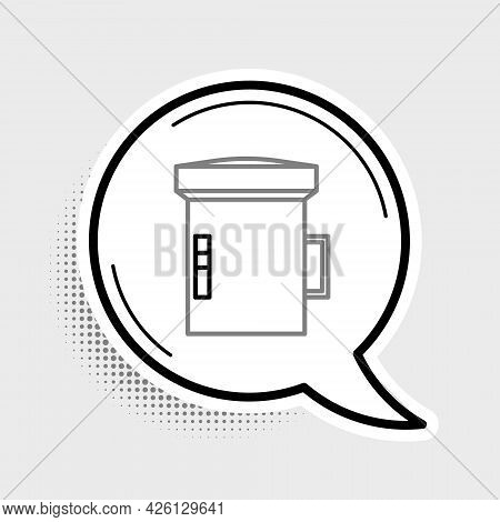 Line Big Flashlight For Diver Icon Isolated On Grey Background. Diving Underwater Equipment. Colorfu