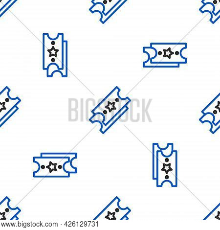 Line Lottery Ticket Icon Isolated Seamless Pattern On White Background. Bingo, Lotto, Cash Prizes. F