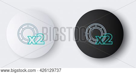 Line Casino Chips Icon Isolated On Grey Background. Casino Gambling. Colorful Outline Concept. Vecto