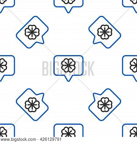 Line Four Leaf Clover In Speech Bubble Icon Isolated Seamless Pattern On White Background. Happy Sai