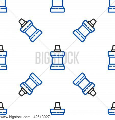 Line Mouthwash Plastic Bottle Icon Isolated Seamless Pattern On White Background. Liquid For Rinsing