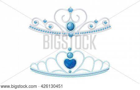 Blue Tiara Or Diadem As Jeweled Ornamental Crown Vector Set